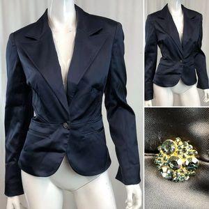 Vintage Cache Satin Stretch Embellished Blazer